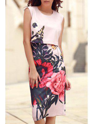 Floral Print Round Collar Sleeveless Dress - Pink M