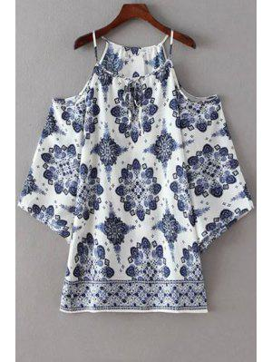Cold Shoulder Spaghetti Straps Printed Dress