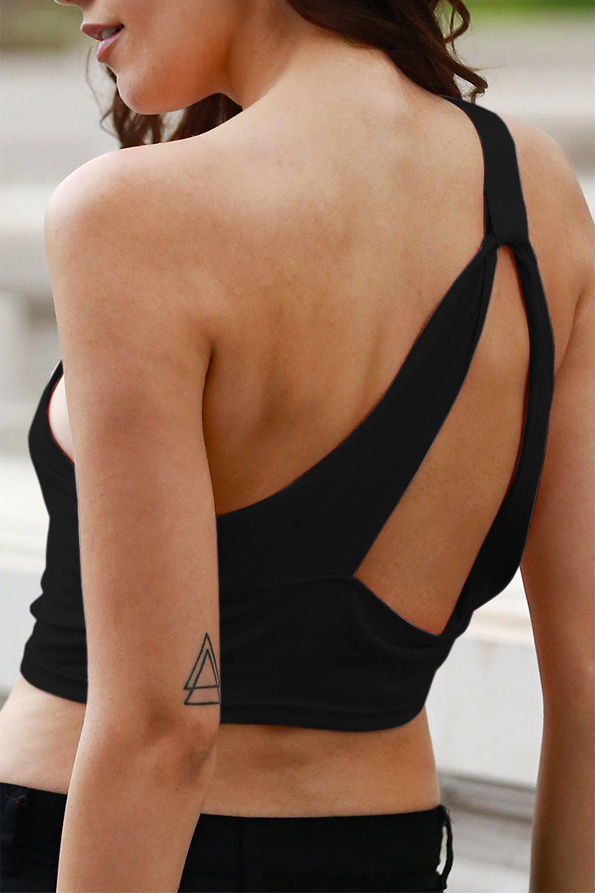 Wrapped Chest One Shoulder Cropped Tank Top
