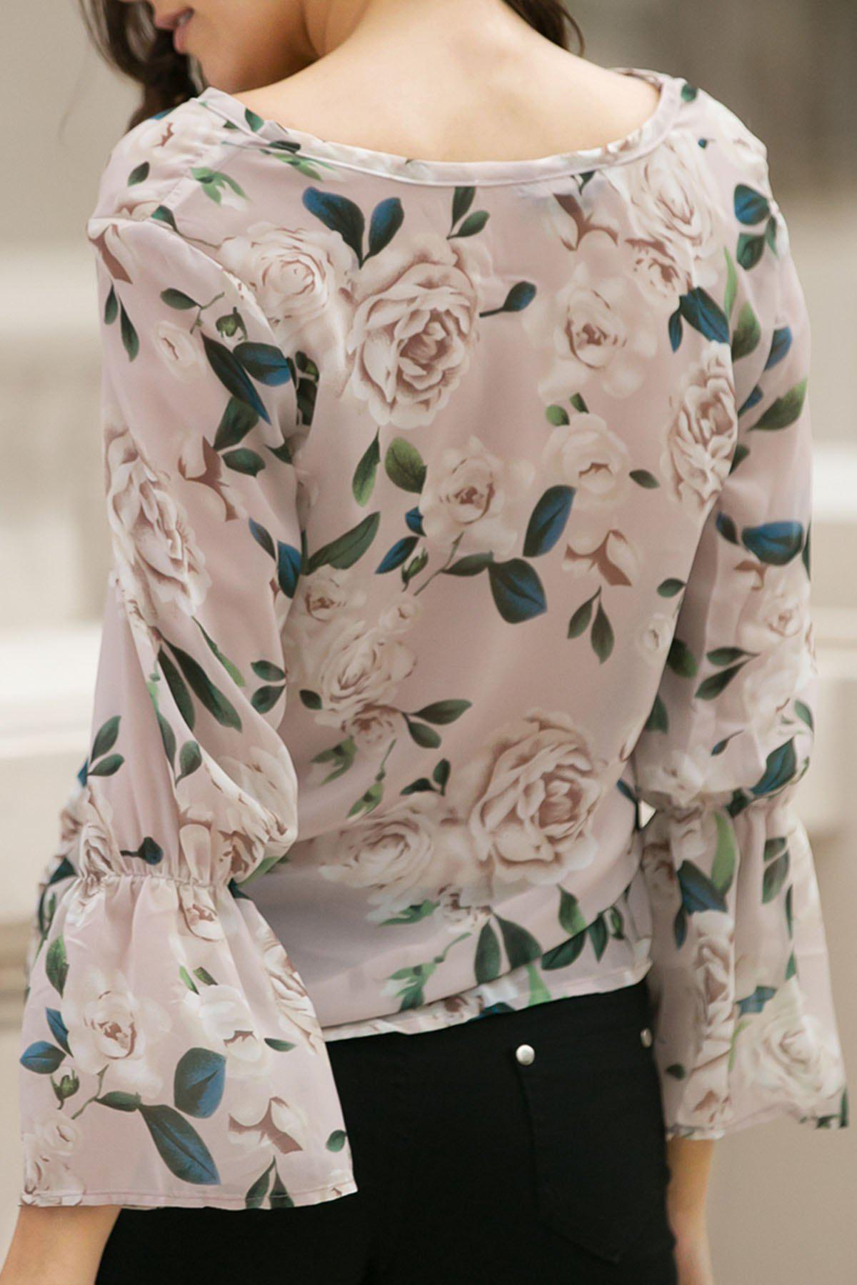 Flower Print V Neck Flare Sleeve Chiffon Blouse - PINK S