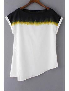 Lado Flojo De Corte Largo Cuello Redondo Manga Corta De La Camiseta - Blanco M