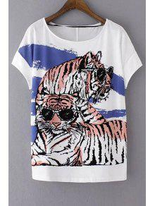 Loose Tiger Print Round Neck Short Sleeve T-Shirt - White M