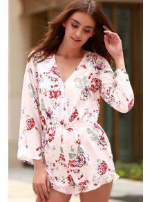 Cross-Over Collar Long Sleeve Floral Playsuit - Pink Xs