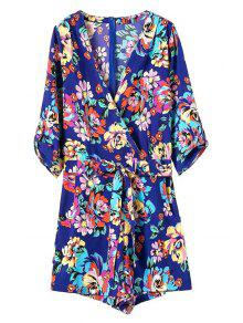 Casual Flower Print V Neck 3/4 Sleeve Playsuit - Blue M