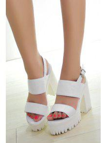 Solid Color Platform Chunky Heel Sandals WHITE: Sandals 37 | ZAFUL