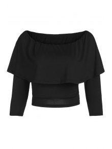 Buy Flouncing Shoulder Cropped T-Shirt - BLACK L