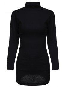 Buy Black Side Slit Turtle Neck Long Sleeves T-Shirt - BLACK M