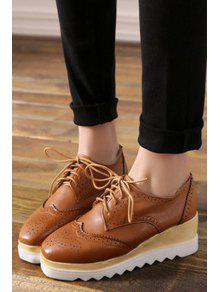 50bd3867cd8 35% OFF  2019 Engraving Lace-Up Square Toe Platform Shoes In BROWN ...