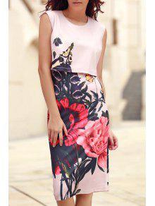 Buy Floral Print Round Collar Sleeveless Dress - PINK L