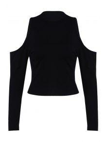 Pure Color Round Collar Cold Shoulder T-Shirt - Black L