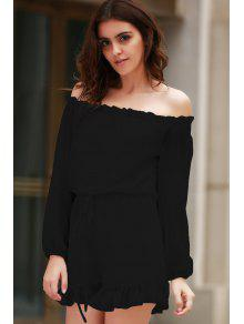 Solid Color Off The Shoulder Long Sleeve Romper - Black S