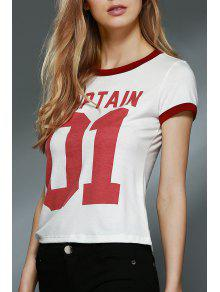 Letter Print Round Collar Short Sleeve T-Shirt - Off-white S