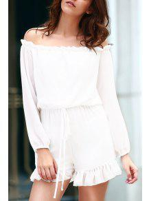 Solid Color Off The Shoulder Long Sleeve Romper - White S
