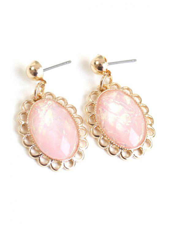 lady Oval Faux Gemstone Earrings - PINK