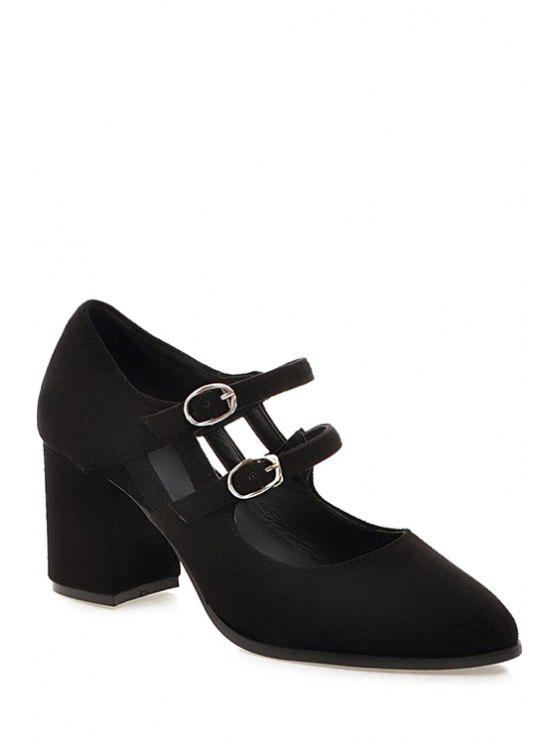 fancy Double Buckles Solid Color Pointed Toe Pumps - BLACK 38