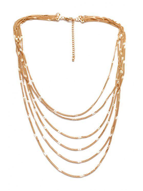 women Chic Multi-Layered Snake Chain Tassel Sweater Chain - GOLDEN
