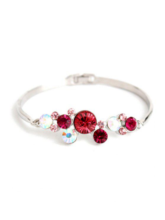 lady Flower Rhinestone Decorated Bracelet - SILVER