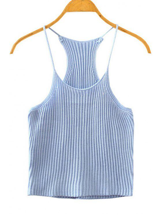 1b9e7beab70093 28% OFF  2019 Crocheted Spaghetti Straps Tank Top In ICE BLUE