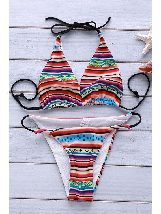 Printed Halter Sexy Bikini - Multicolore M