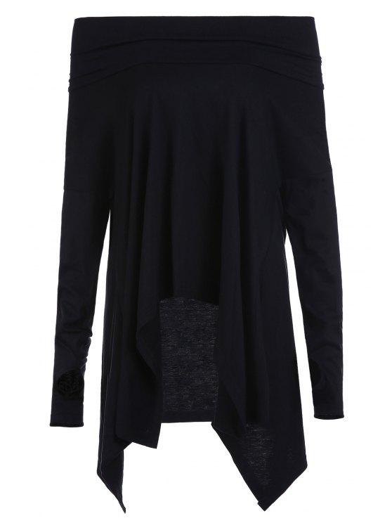 new Cowl Neck Irregular Hem T-Shirt - BLACK M