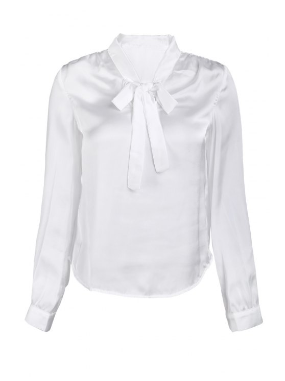 Solide Couleur V-Neck manches longues Lace Up Blouse - Blanc M