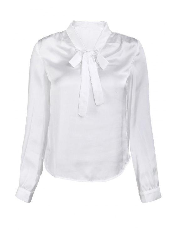 Color sólido con cuello en V manga larga de encaje hasta la blusa - Blanco M