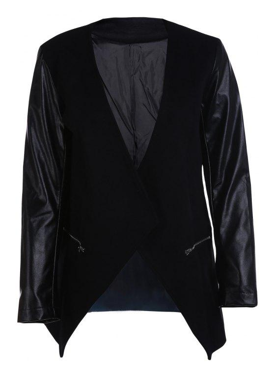 womens Open Front PU Leather Sleeve Trench Coat - BLACK S