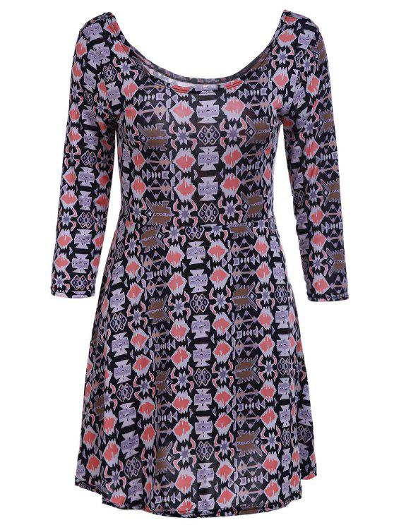affordable Geometric Print Scoop Neck 3/4 Sleeve Dress - KHAKI L