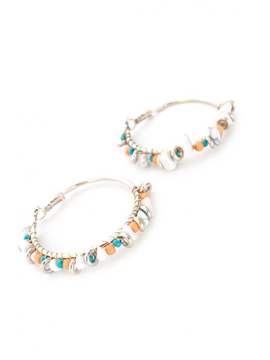women Bohemia Bead Hoop Earrings - SILVER