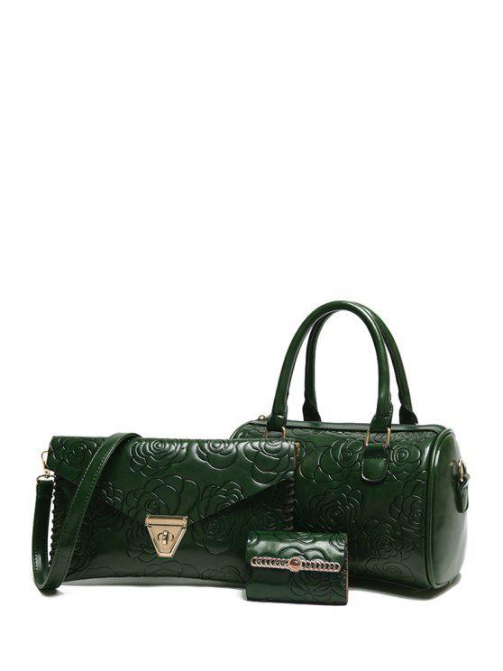 Grabado en relieve bolsa de asas floral del color sólido - Verde