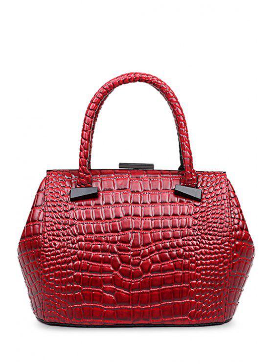 Cocodrilo de impresión de cierre de presilla bolsa de asas - Vino Rojo