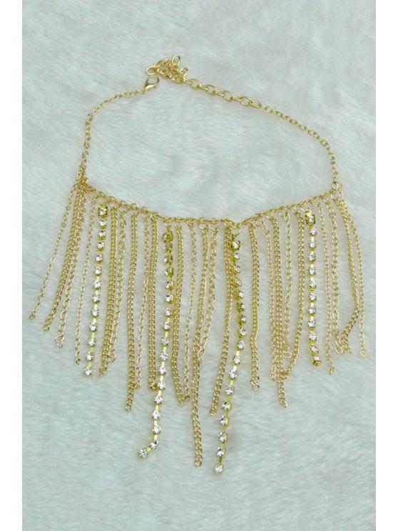 trendy Stylish Rhinestoned Link Chain Anklet - GOLDEN