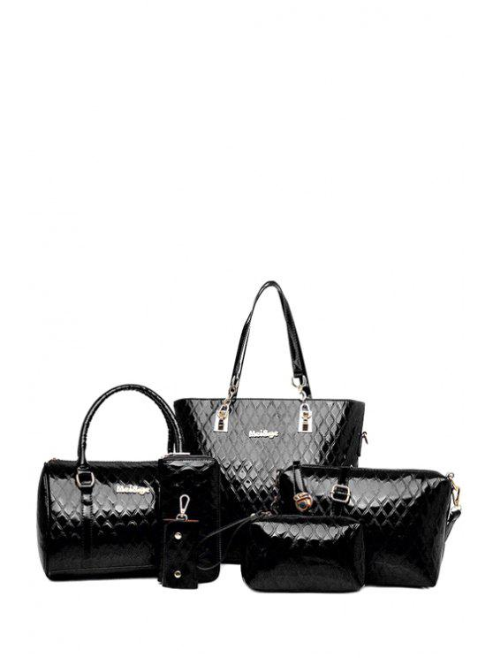shops Letter Checked Patent Leather Shoulder Bag - BLACK
