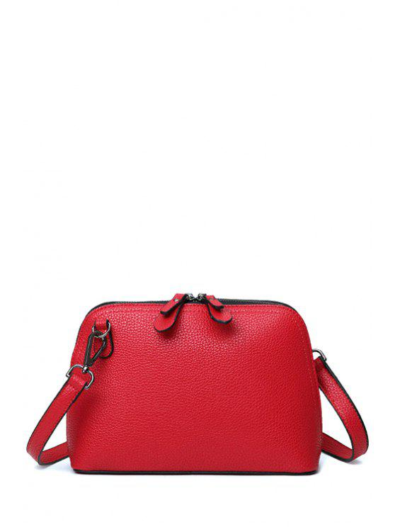latest Solid Color Zip Stitching Crossbody Bag - RED
