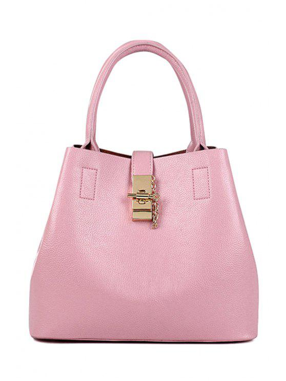 outfit Metallic Hasp Solid Color Tote Bag - PINK