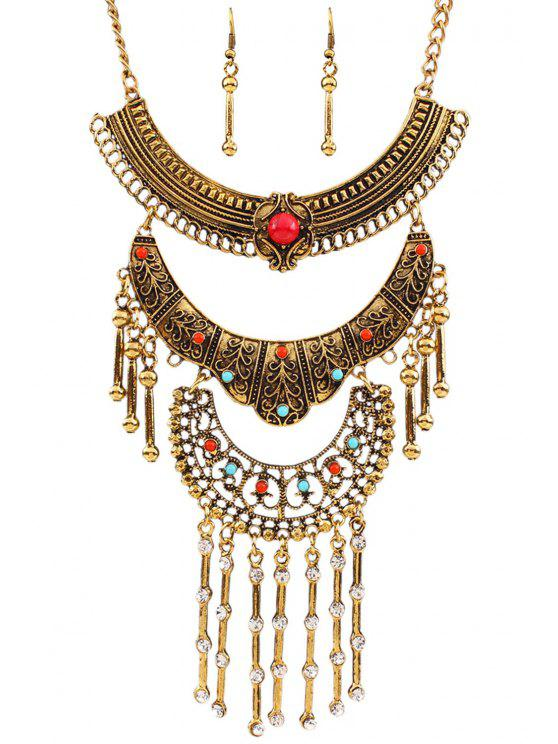 shop Vintage Rhinestone Fringed Necklace and Earrings - GOLDEN