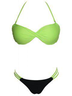 Hit Color Gathered Halter Twist Bandeau Bikini Set - Neon Green L