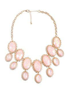 Oval Faux Gemstone Necklace - Pink