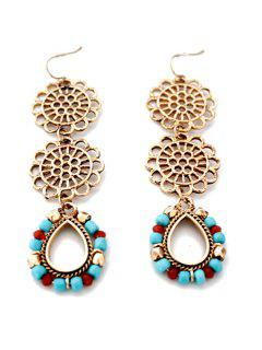 Trendy Flower Tassel Water Drop Earrings - Golden
