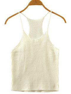 Crocheted Spaghetti Straps Tank Top - White