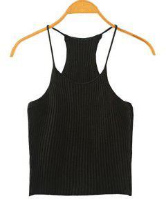 Crocheted Spaghetti Straps Tank Top - Black