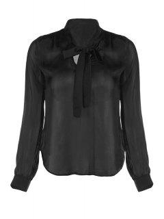 Solid Color V-Neck Long Sleeve Lace Up Blouse - Black 2xl