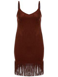 Spaghetti Strap Fringed Suede Dress - Brown 2xl