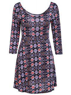 Geometric Print Scoop Neck 3/4 Sleeve Dress - Khaki L