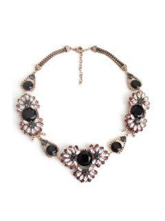 Charming Faux Crystal Floral Necklace - Copper Color