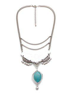 Stylish Turquoise Oval Drop Necklace - Silver