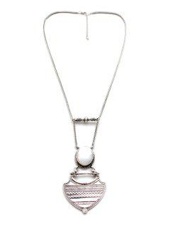 Vintage Alloy Geometric Pendant Sweater Chain - Silver