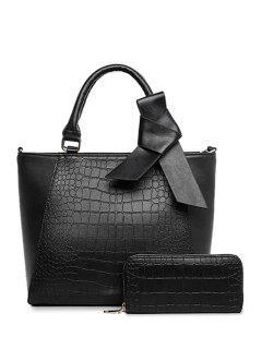 Crocodile Print Bowknot Tote Bag - Black