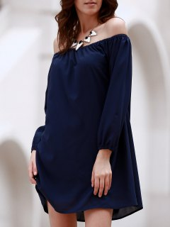 Off The Shoulder Long Sleeve Chiffon Tunic Dress - Deep Blue L