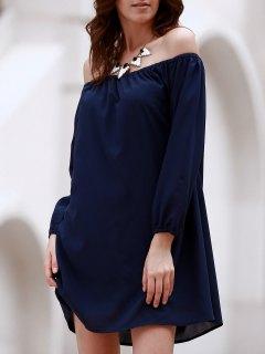 Off The Shoulder Robe En Mousseline De Soie à Manches Longues - Bleu Foncé L